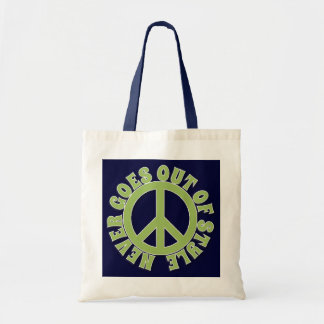 PEACE SIGN PEACE NEVER GOES OUT OF STYLE CANVAS BAGS