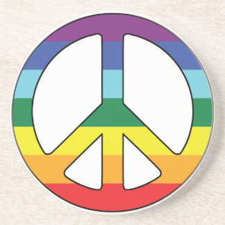 Peace Sign Peace Symbol with Flag Colors Sandstone Coaster