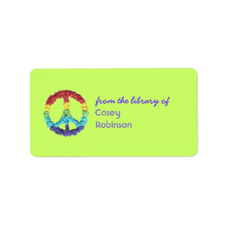 Peace sign personalized bookplate label