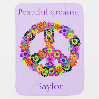 Peace Sign Personalized in Lavender Swaddle Blankets