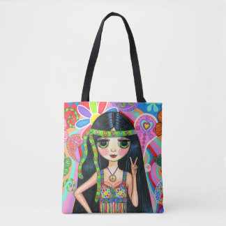Peace Sign Psychedelic Hippie Chick Girl '60s '70s Tote Bag