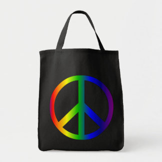 Peace Sign Rainbow Bag Grocery Tote Bag
