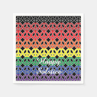 Peace Sign Rainbow Color Black Paper Napkin