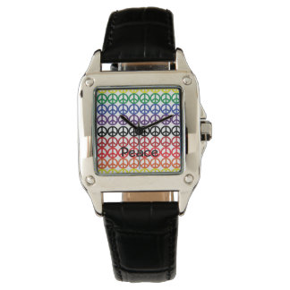 Peace Sign Rainbow Colours with Name Watch