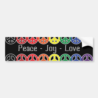 Peace Sign Rainbow on Black Peace Joy Love Bumper Sticker