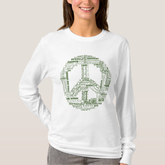 peace sign recycle words green T-Shirt