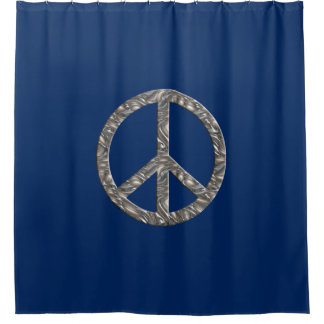 Peace Sign silver + your background & ideas Shower Curtain
