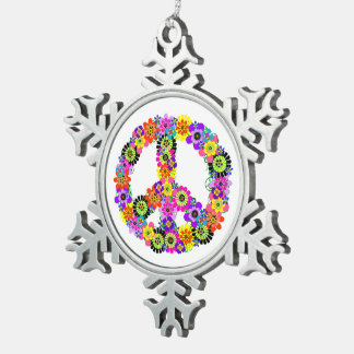Peace Sign Snowflake Pewter Christmas Ornament