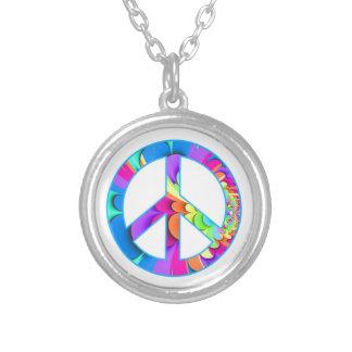 Peace Sign Summer Palette Round Pendant Necklace