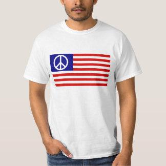 Peace Sign Symbol Stars & Stripes American US Flag T-Shirt