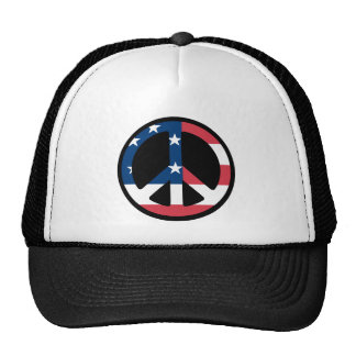 PEACE SIGN USA FLAG CAP