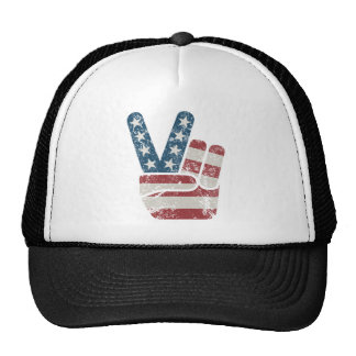 Peace Sign USA Vintage Trucker Hat