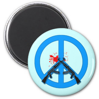 Peace Sign with AK-47s and Blood 6 Cm Round Magnet