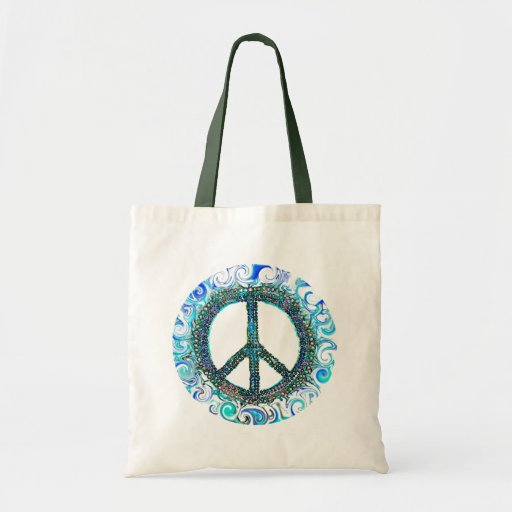 Peace Sign With Blue Waves Canvas Bags