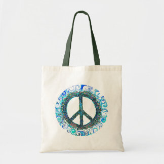 Peace Sign With Blue Waves Budget Tote Bag