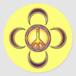 PEACE SIGN WITH MOONS ROUND STICKERS