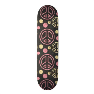 Peace Sign with Polka Dots Skateboard