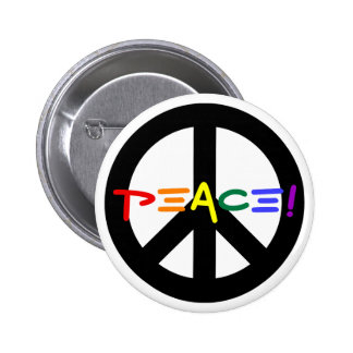 Peace Sign with Rainbow 6 Cm Round Badge
