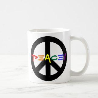 Peace Sign with Rainbow Classic White Coffee Mug
