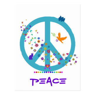 Peace Sign with Rainbow Colors Postcard