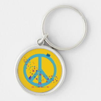 Peace Sign with Rainbow Colors Silver-Colored Round Key Ring