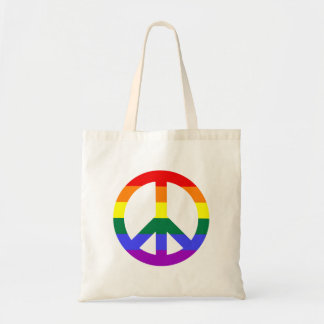 Peace Sign with Rainbow Stripes Tote Bag