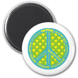 Peace Sign with Softball in Frame Magnets