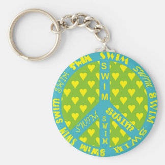 Peace Sign with Swim in Frame Key Ring