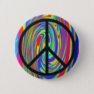 Peace Sign With Trippy Tye Dye 6 Cm Round Badge