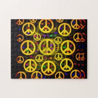 Peace Signs and Hearts Jigsaw Puzzle