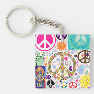 Peace Signs Collage Key Ring