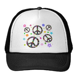 Peace Signs & Flowers Cap