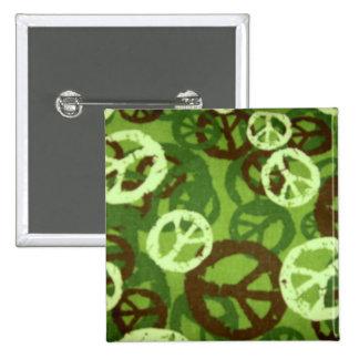 Peace Signs Green Camo Look Button