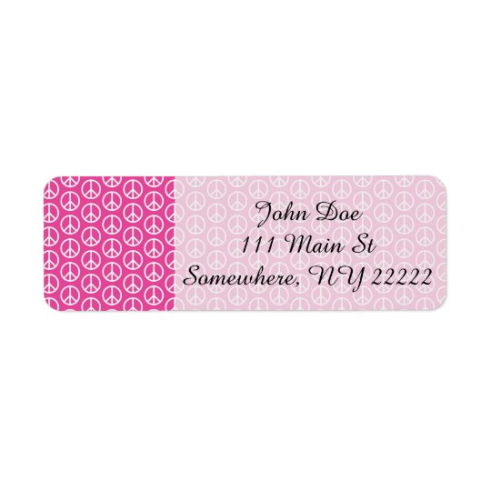 Peace Signs on Bright Pink Return Address Label