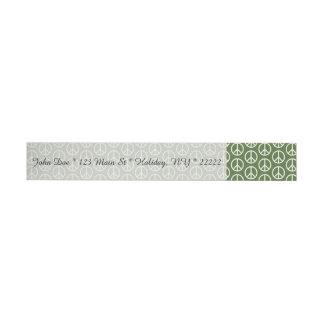 Peace Signs on Holiday Pine Green Wraparound Address Label
