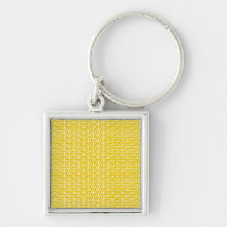 Peace Signs on Sunny Yellow Silver-Colored Square Key Ring
