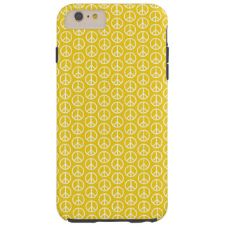 Peace Signs on Sunny Yellow Tough iPhone 6 Plus Case
