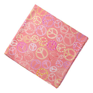 Peace Signs Pattern on Pink Kerchief