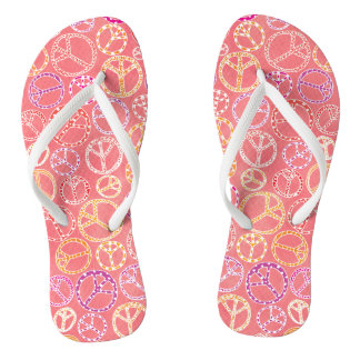 Peace Signs Pattern on Pink Thongs