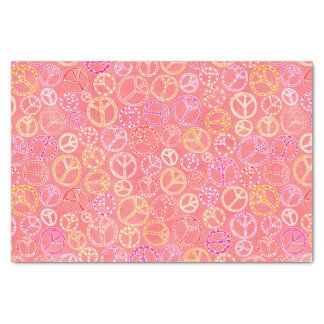 Peace Signs Pattern on Pink Tissue Paper