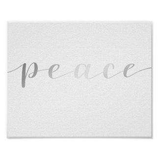 Peace- silver foil effect poster