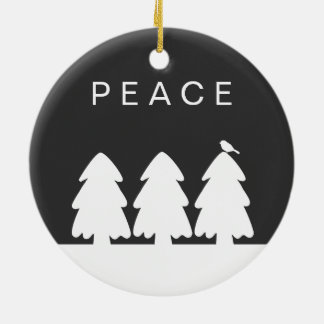 Peace Snowy Pine Trees with Cute Bird Ceramic Ornament