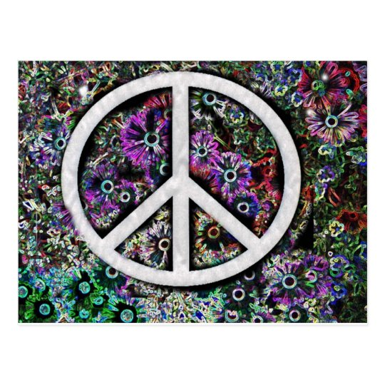 Peace solar flowers postcard