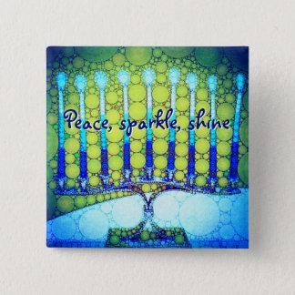 """""""Peace Sparkle Shine"""" Blue Hanukkah Menorah Photo 15 Cm Square Badge"""
