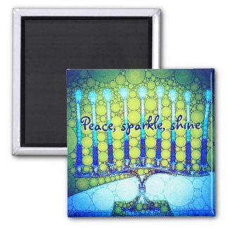 """""""Peace Sparkle Shine"""" Blue Hanukkah Menorah Photo Magnet"""