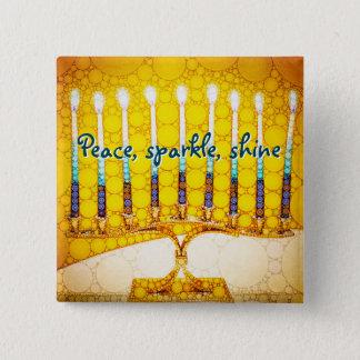 Peace Sparkle Shine, Yellow Hanukkah Menorah Photo 15 Cm Square Badge