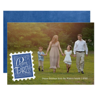 Peace Stamp   Holiday Photo Card
