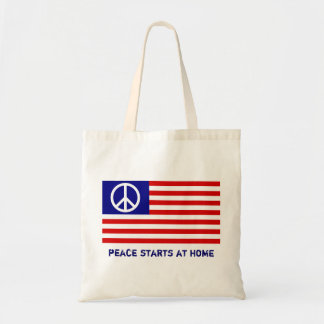 Peace starts at home tote bags
