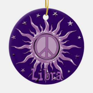 Peace Sun Libra Round Ceramic Decoration