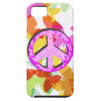 Peace Symbol and Butterflies Case For The iPhone 5
